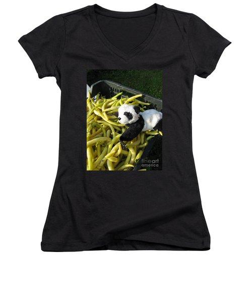 Women's V-Neck T-Shirt (Junior Cut) featuring the photograph Selling Beans by Ausra Huntington nee Paulauskaite