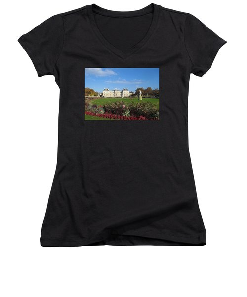 Women's V-Neck T-Shirt (Junior Cut) featuring the photograph Senate From Jardin Du Luxembourg by Christopher Kirby