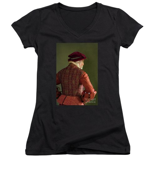 Senior Tudor Man Women's V-Neck T-Shirt (Junior Cut) by Lee Avison