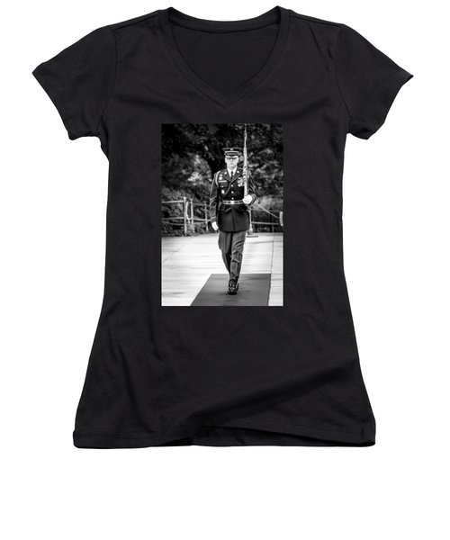 Women's V-Neck T-Shirt (Junior Cut) featuring the photograph Sentinel At The Tomb Of The Unknowns by David Morefield
