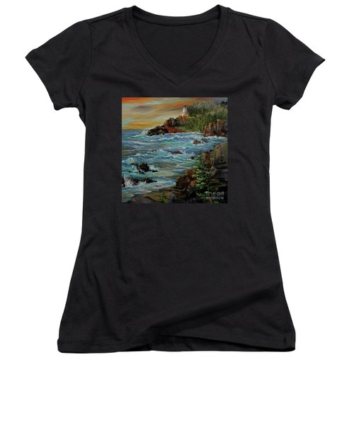 Sentry Women's V-Neck T-Shirt (Junior Cut) by Roseann Gilmore