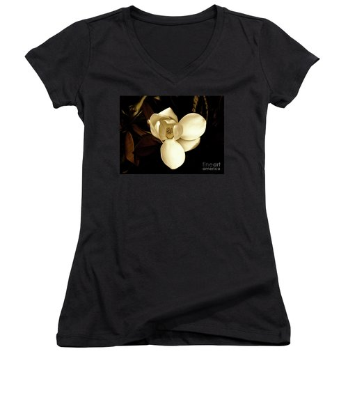 Sepia-toned Magnolia Women's V-Neck T-Shirt