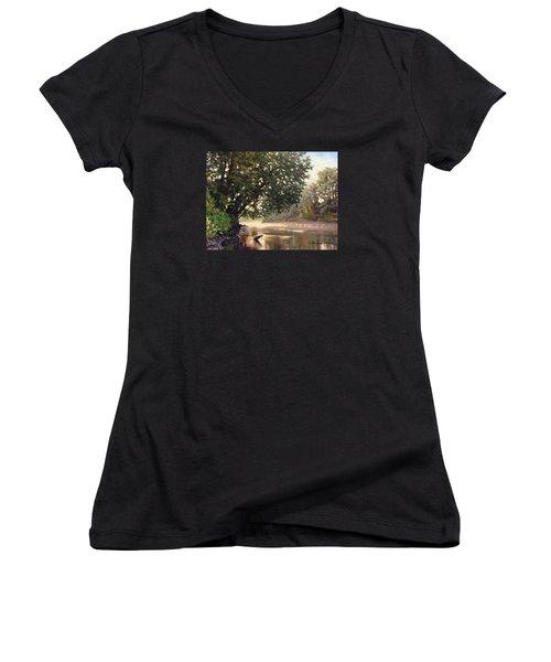 September Dawn Little Sioux River - Plein Air Women's V-Neck T-Shirt (Junior Cut) by Bruce Morrison