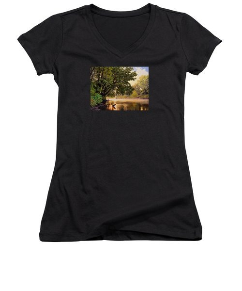 September Dawn, Little Sioux River - Studio Painting Women's V-Neck (Athletic Fit)