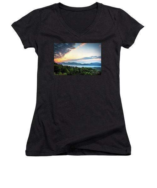 Women's V-Neck T-Shirt (Junior Cut) featuring the photograph September Sunrise by Douglas Stucky