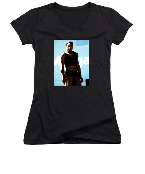 Serena Williams Match Point IIi Women's V-Neck T-Shirt (Junior Cut) by Brian Reaves