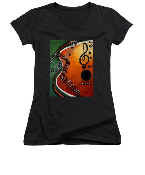 Women's V-Neck T-Shirt (Junior Cut) featuring the painting Serenade by Teresa Wing