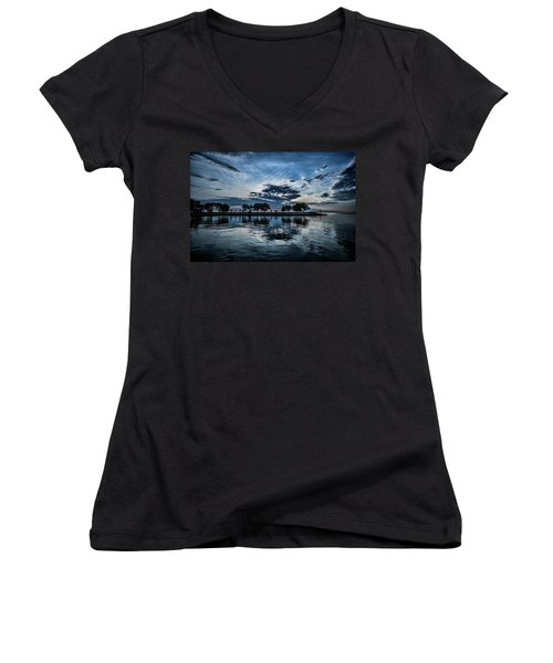 Serene Summer Water And Clouds Women's V-Neck