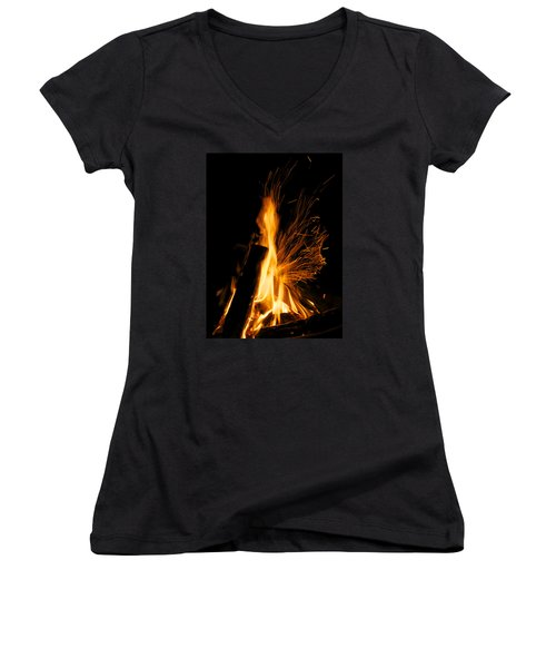 Set The Night On Fire Women's V-Neck (Athletic Fit)