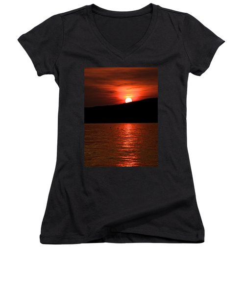 Setting Sun Women's V-Neck T-Shirt