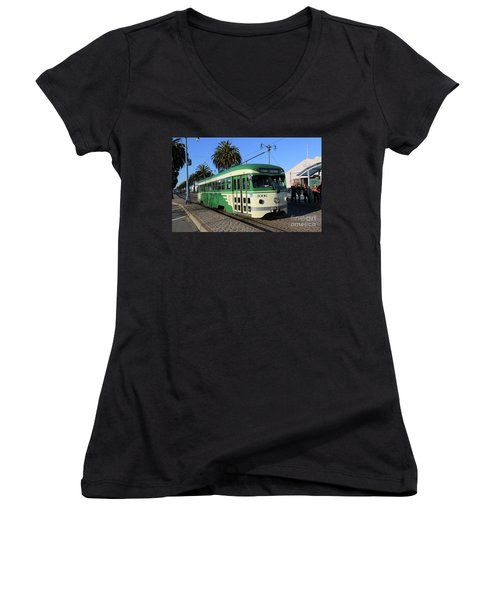 Women's V-Neck T-Shirt (Junior Cut) featuring the photograph Sf Muni Railway Trolley Number 1006 by Steven Spak