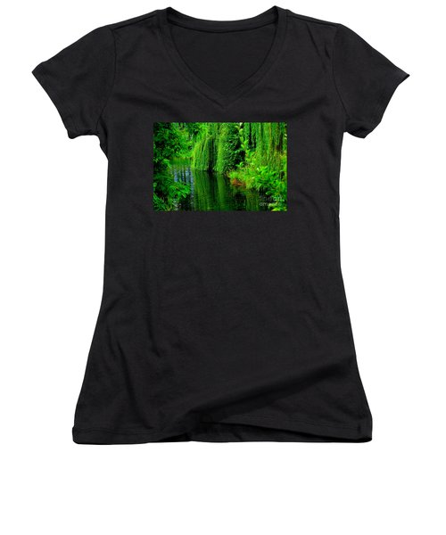 Shade Tree Women's V-Neck T-Shirt (Junior Cut) by Greg Patzer
