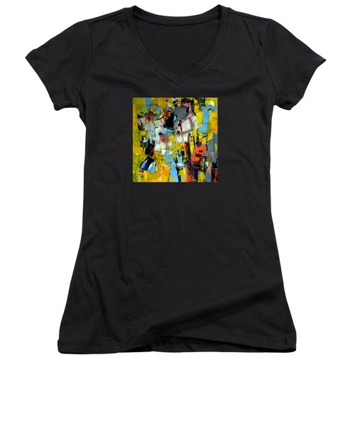 Shades Of Yellow Women's V-Neck T-Shirt (Junior Cut) by Katie Black