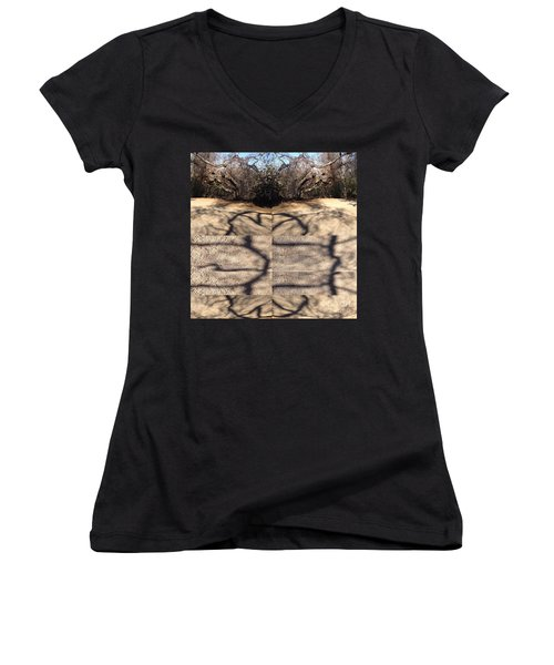 Women's V-Neck T-Shirt (Junior Cut) featuring the photograph Shadow Crack Lines by Nora Boghossian