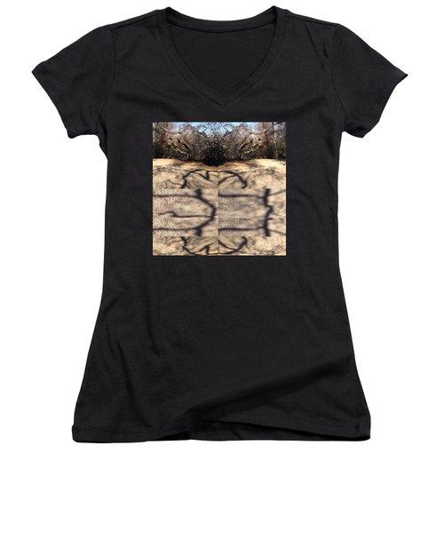 Shadow Crack Lines Women's V-Neck T-Shirt (Junior Cut) by Nora Boghossian