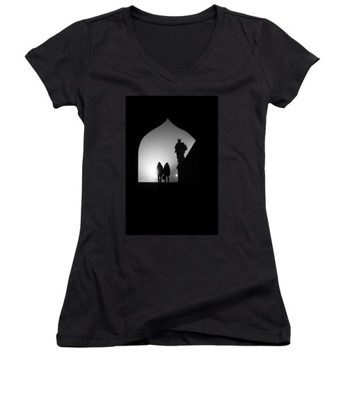 Women's V-Neck T-Shirt (Junior Cut) featuring the photograph Shadows by Jenny Rainbow