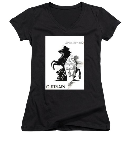Women's V-Neck (Athletic Fit) featuring the digital art Shalimar by ReInVintaged