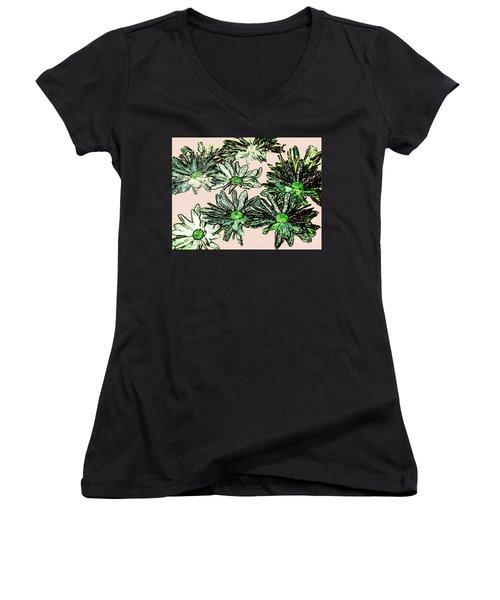 Shasta Daisies Watercolor Sketch Women's V-Neck T-Shirt (Junior Cut) by Merton Allen
