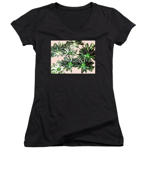 Shasta Daisies Watercolor Sketch Women's V-Neck T-Shirt