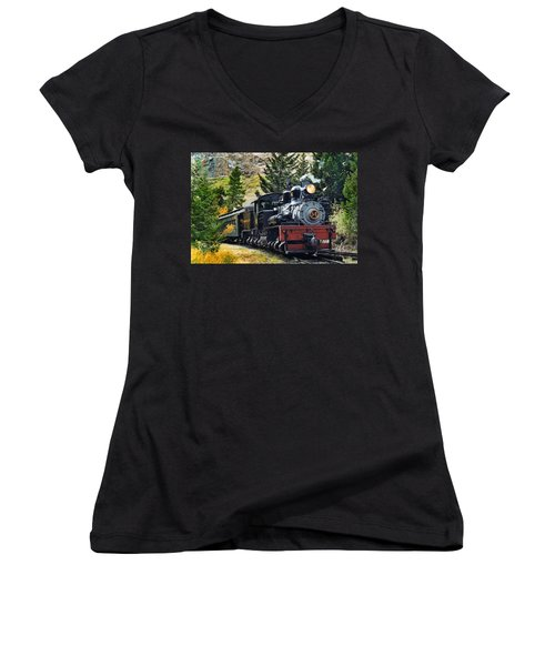 Shay On The Georgetown Loop Women's V-Neck T-Shirt (Junior Cut) by Ken Smith