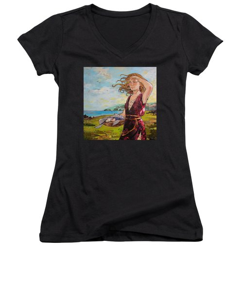 She Baked The Loaves And Dried The Fishes Women's V-Neck T-Shirt (Junior Cut) by Robin Birrell