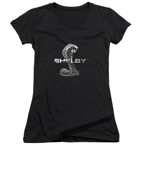 Shelby Cobra - 3d Badge On Black Women's V-Neck (Athletic Fit)