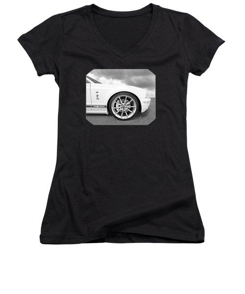 Shelby Gt500 Wheel Black And White Women's V-Neck T-Shirt (Junior Cut) by Gill Billington
