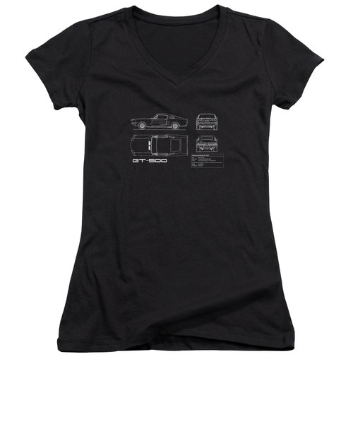 Shelby Mustang Gt500 Blueprint Women's V-Neck (Athletic Fit)