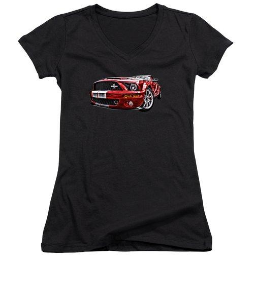 Shelby On Fire Women's V-Neck T-Shirt (Junior Cut) by Gill Billington