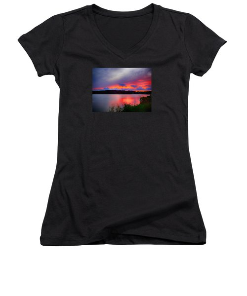 Women's V-Neck T-Shirt (Junior Cut) featuring the photograph Shelf Cloud At Sunset by Bill Barber
