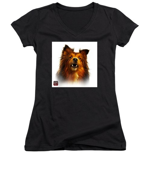 Sheltie Dog Art 0207 - Wb Women's V-Neck