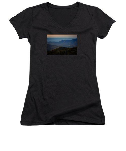 Shenandoah Valley At Sunset Women's V-Neck T-Shirt (Junior Cut) by Rick Berk