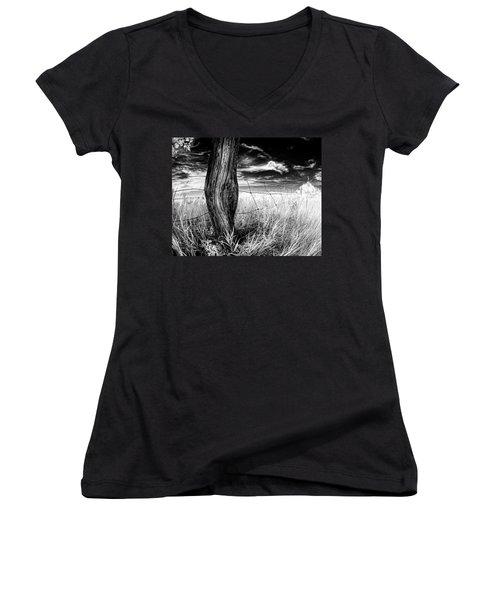Women's V-Neck T-Shirt (Junior Cut) featuring the photograph She's Got Legs by Dan Jurak
