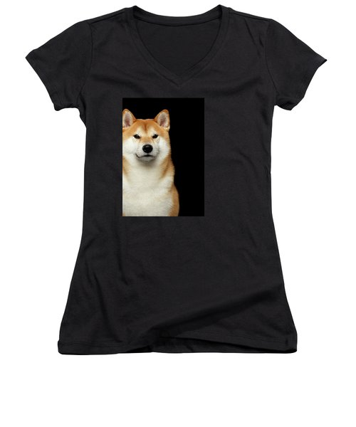 Shiba Inu Women's V-Neck T-Shirt (Junior Cut) by Sergey Taran