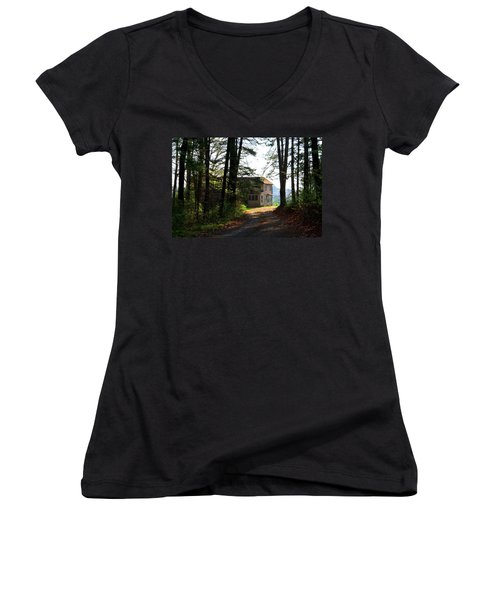 Women's V-Neck T-Shirt (Junior Cut) featuring the photograph Shields Farm by Kathryn Meyer