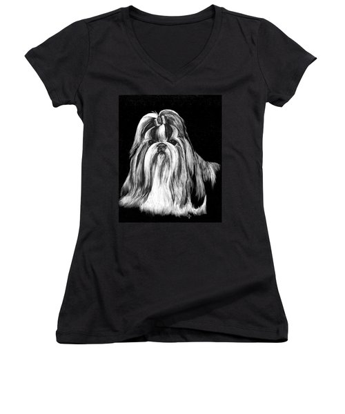 Women's V-Neck T-Shirt (Junior Cut) featuring the drawing Shih Tzu by Rachel Hames