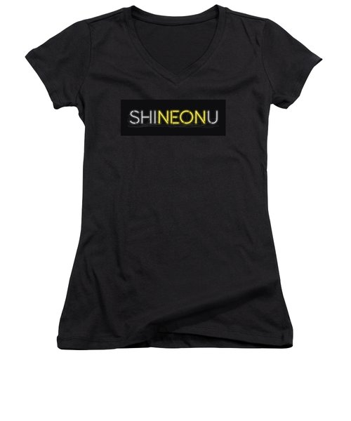 Shineonu - Neon Sign 3 Women's V-Neck (Athletic Fit)