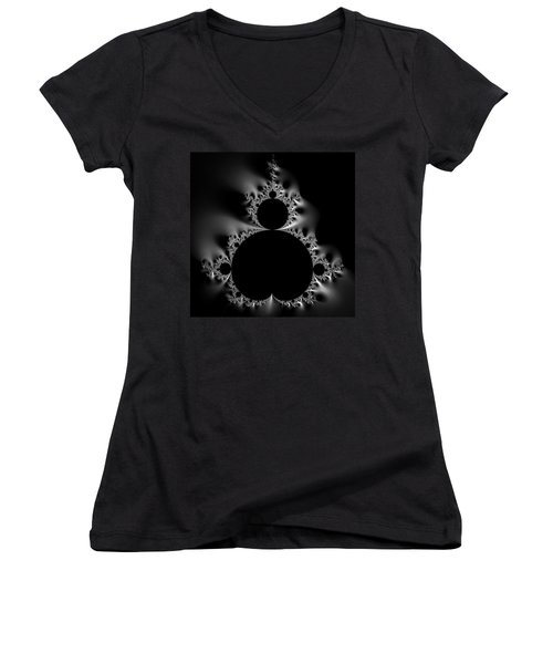 Shiny Cool Mandelbrot Set Black And White Women's V-Neck