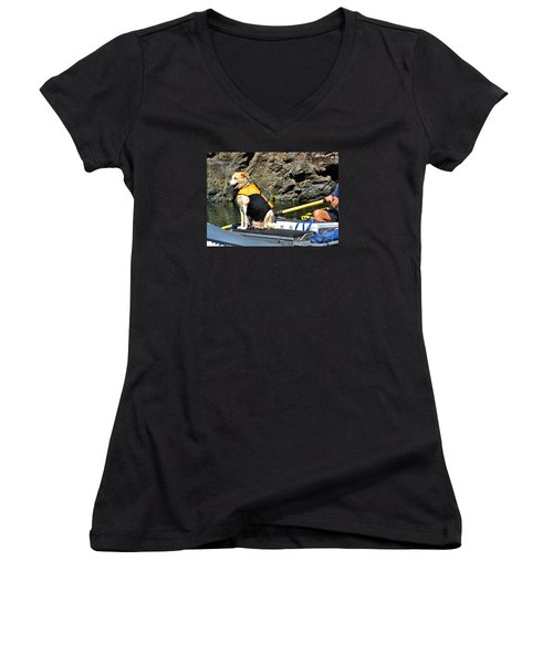 Ship, Captain And Crew Women's V-Neck T-Shirt (Junior Cut) by Ansel Price