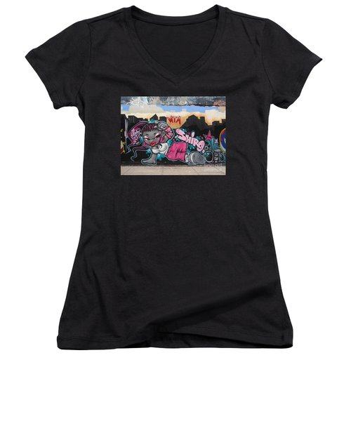Women's V-Neck T-Shirt (Junior Cut) featuring the photograph Shiro by Cole Thompson