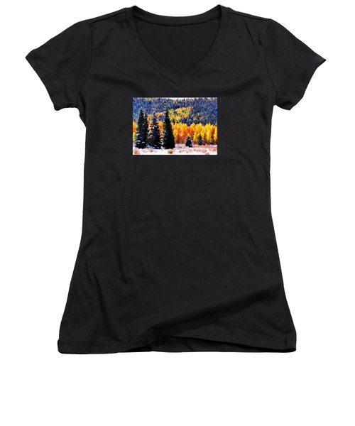 Shivering Pines In Autumn Women's V-Neck T-Shirt (Junior Cut) by Diane Alexander