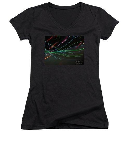 Women's V-Neck T-Shirt (Junior Cut) featuring the photograph Shooting Stars by Ausra Huntington nee Paulauskaite