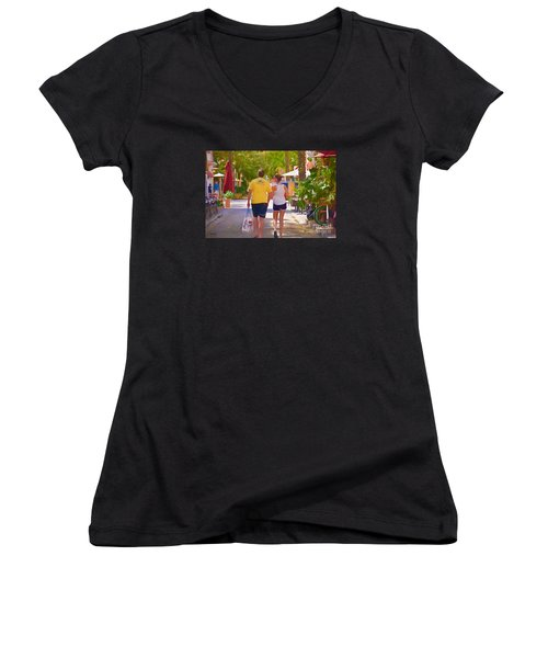 Women's V-Neck T-Shirt (Junior Cut) featuring the photograph Shopping Miami Style by Judy Kay