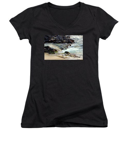 Women's V-Neck T-Shirt (Junior Cut) featuring the photograph Shoreline by Lori Seaman