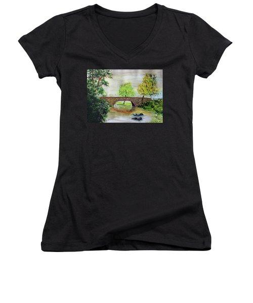 Shortcut Bridge Women's V-Neck T-Shirt (Junior Cut) by Jack G Brauer