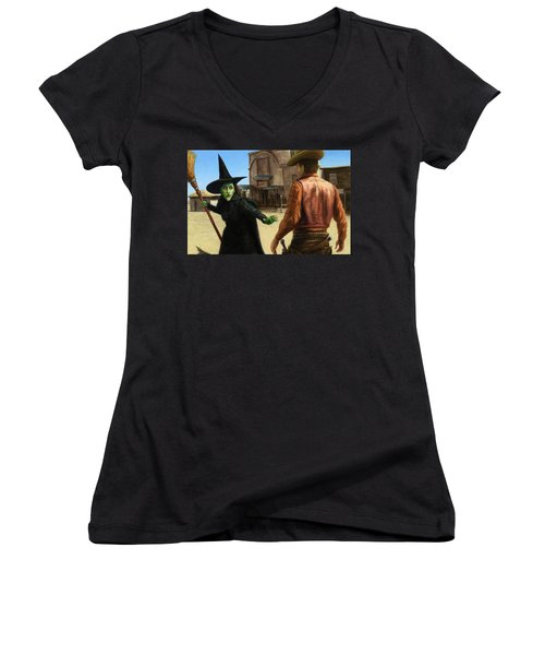 Women's V-Neck T-Shirt (Junior Cut) featuring the painting Showdown by James W Johnson