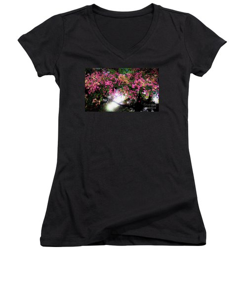 Shower Tree Flowers And Hawaii Sunset Women's V-Neck
