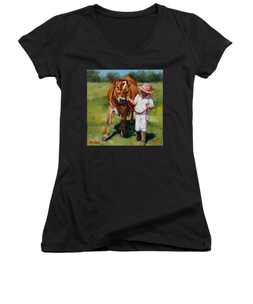 Women's V-Neck T-Shirt (Junior Cut) featuring the painting Showgirls by Margaret Stockdale