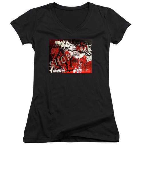 Showtime At The Madhouse Women's V-Neck T-Shirt
