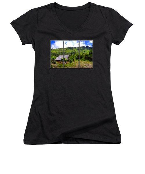 Women's V-Neck T-Shirt (Junior Cut) featuring the photograph Shuar Hut In The Amazon by Al Bourassa